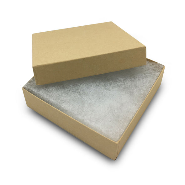 "3 1/2""Wx 3 1/2"" DX 1""H Kraft Cotton Filled Paper Box"