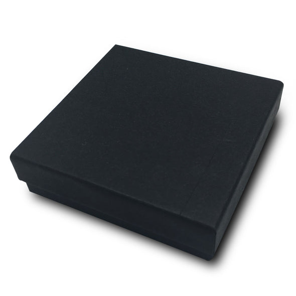 "3 1/2"" x 3 1/2"" x 1"" Black Cotton Filled Paper Box"