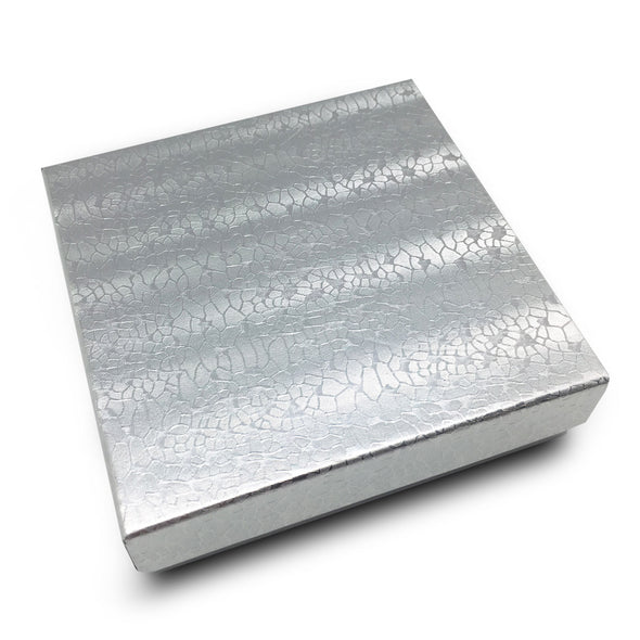 "3 1/2""Wx 3 1/2""D X 1""H Silver Cotton Filled Paper Box"
