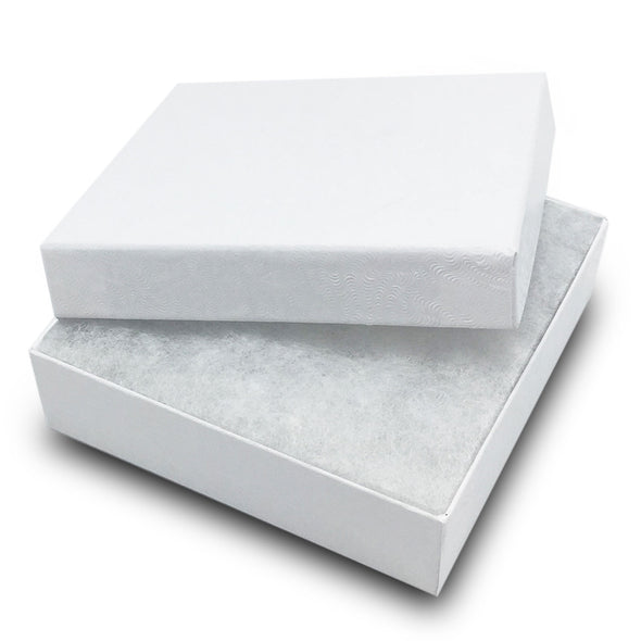 "3 1/2""Wx 3 1/2""D X 1""H White Swirl Cotton Filled Paper Box"
