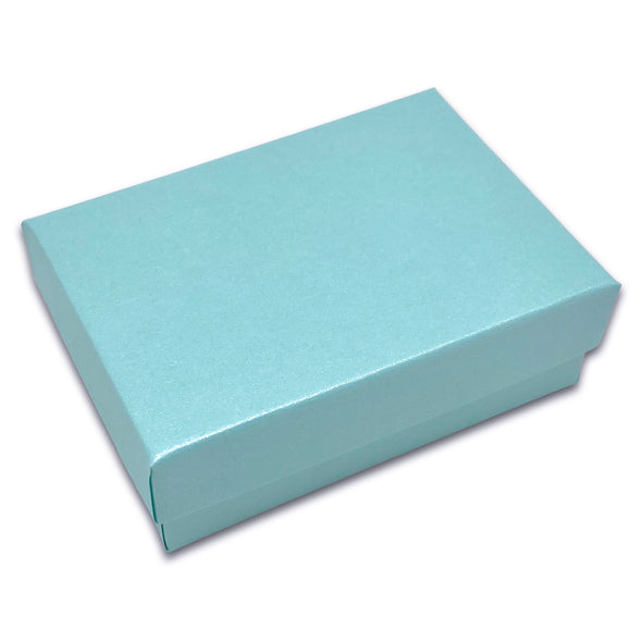 "3 1/4"" x 2 1/4"" x 1"" Light Pearl Teal Cotton Filled Paper Box"