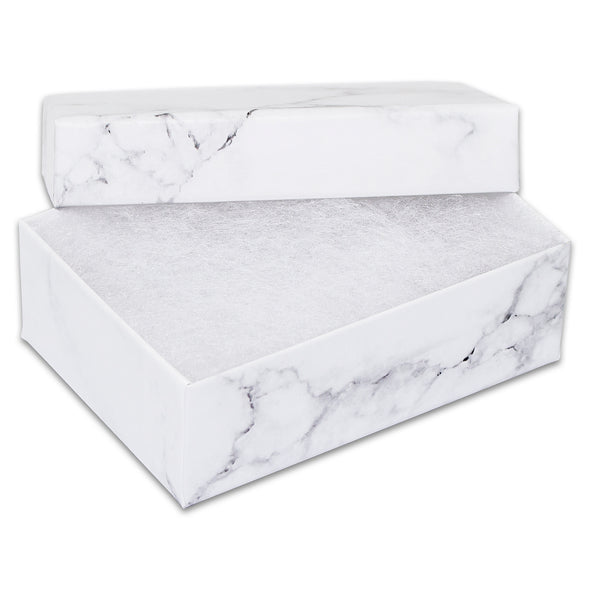 "3 1/4"" x 2 1/4"" x 1"" Marble White Cotton Filled Paper Box"