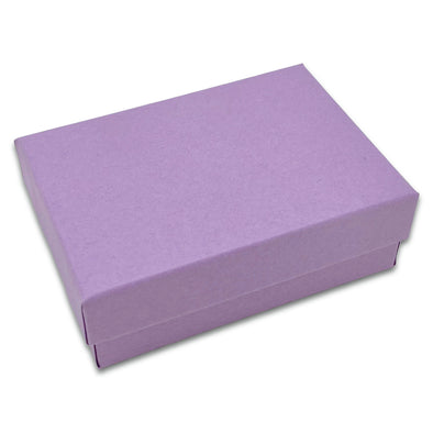 "3 1/4"" x 2 1/4"" x 1"" Matte Purple Cotton Filled Paper Box"