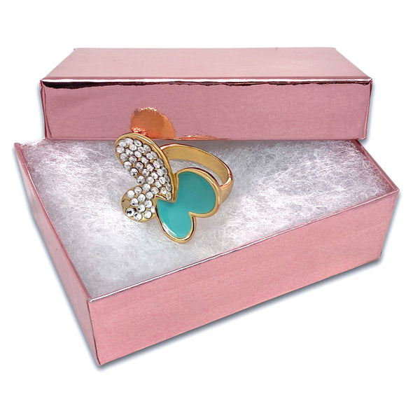 "3 1/4"" x 2 1/4"" x 1"" Metallic Rose Gold Cotton Filled Paper Box"