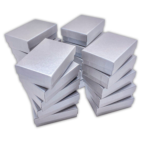 "3 1/4"" x 2 1/4"" x 1"" Pearl Gray Cotton Filled Paper Box"