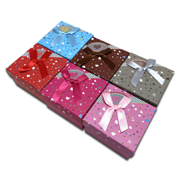 "3 1/4"" x 3 1/4"" 6-Pack of Assorted Color Cardboard Watch Bracelet Ribbon Bow Jewelry Boxes"