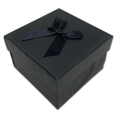"3 1/4"" x 3 1/4"" Black Cardboard Watch Bracelet Ribbon Bow Jewelry Box"