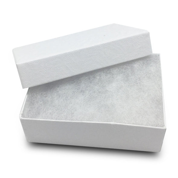 "3 1/4""WX2 1/4""DX1""H White Cotton Filled Paper Box"