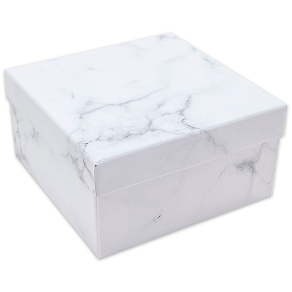 "3 3/4"" x 3 3/4"" x 2"" Marble White Cotton Filled Paper Box"