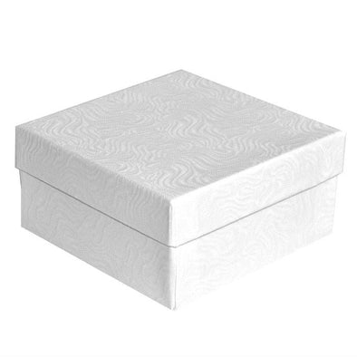 "3 3/4""Wx3 3/4""Dx2""H White Swirl Cotton Filled Jewelry Boxes"
