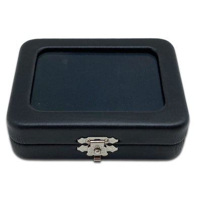 "3 5/16"" x 2 1/2"" Black Leatherette Gem Box with Reversible Velvet Pillow"