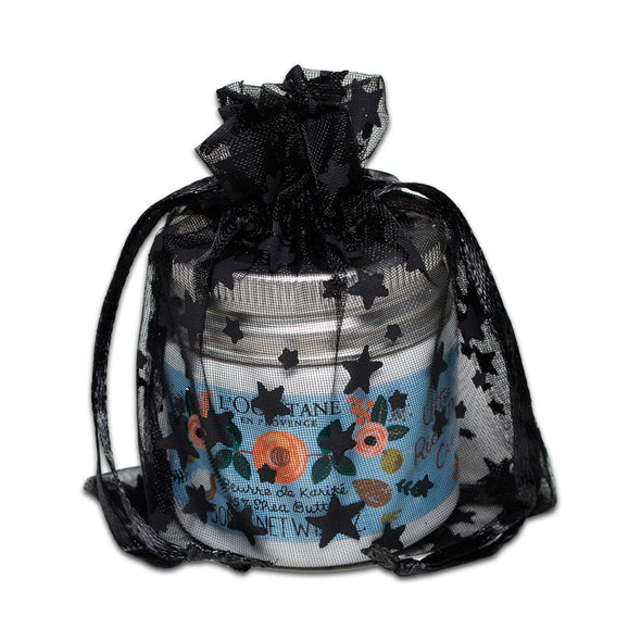 "3"" x 4"" Black with Black Star Organza Drawstring Pouch Gift Bags"