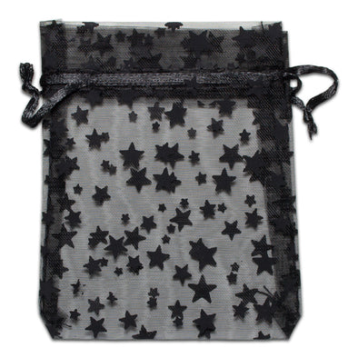 Black with Black Star Organza Drawstring Pouch Gift Bags