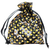 "3"" x 4"" Black with Gold Polka Dot Organza Drawstring Pouch Gift Bags"
