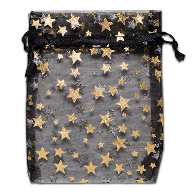 Black with Gold Star Organza Drawstring Pouch Gift Bags