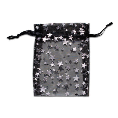 Black with Silver Star Organza Drawstring Pouch Gift Bags