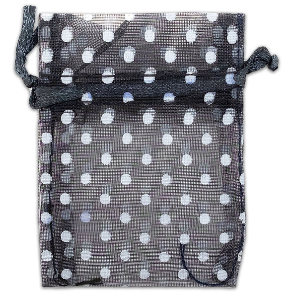 "3"" x 4"" Black with White Polka Dot Organza Drawstring Pouch Gift Bags"