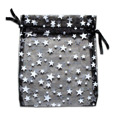Black with White Star Organza Drawstring Pouch Gift Bags