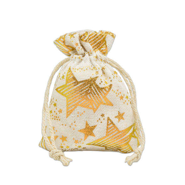 "3"" x 4"" Cotton Muslin Gold Star Drawstring Gift Bags"