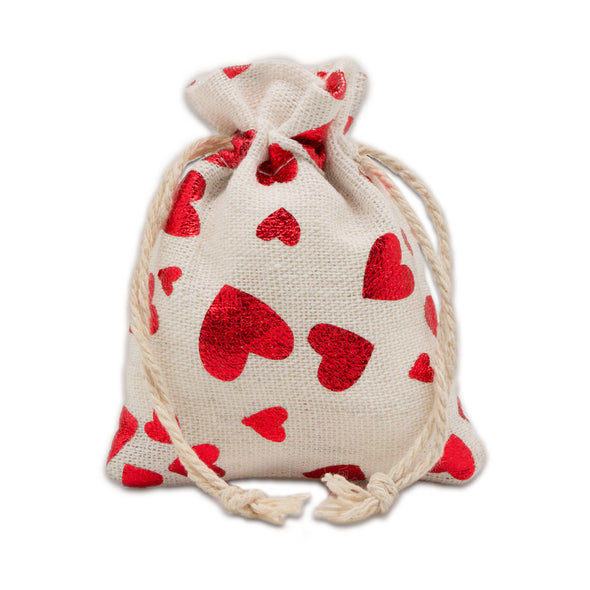 "3"" x 4"" Cotton Muslin Red Heart Drawstring Gift Bags"