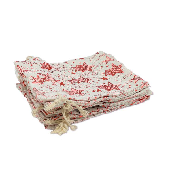 "3"" x 4"" Cotton Muslin Red Star Drawstring Gift Bags"