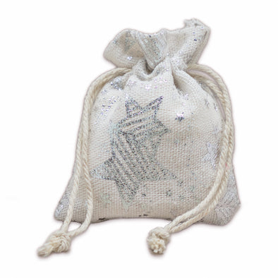 "3"" x 4"" Cotton Muslin Silver Star Drawstring Gift Bags"