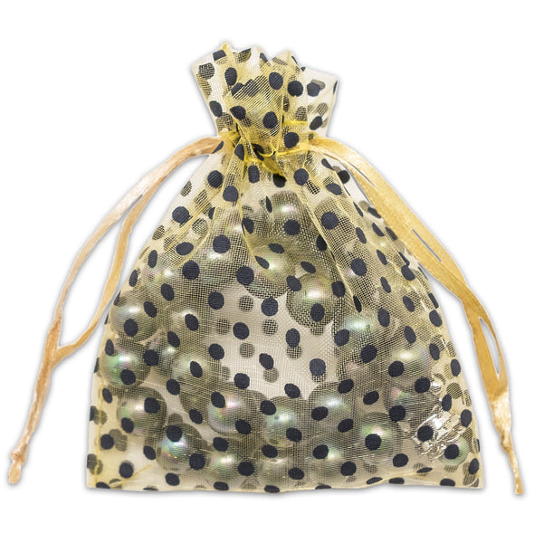 "3"" x 4"" Gold with Black Polka Dot Organza Drawstring Pouch Gift Bags"