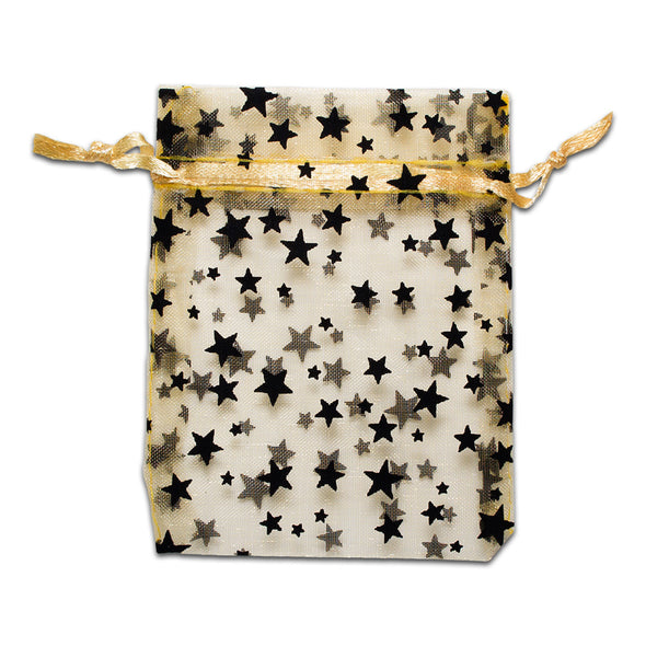 "3"" x 4"" Gold with Black Star Organza Drawstring Pouch Gift Bags"