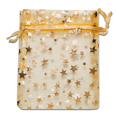 Gold with Gold Star Organza Drawstring Pouch Gift Bags
