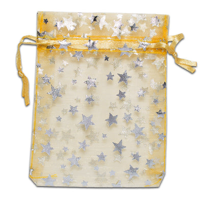 Gold with Silver Star Organza Drawstring Pouch Gift Bags