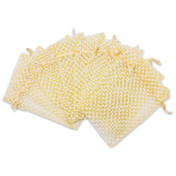 "3"" x 4"" Gold with White Polka Dot Organza Drawstring Pouch Gift Bags"