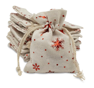 "3"" x 4"" Cotton Muslin Red Snowflake Drawstring Gift Bags"
