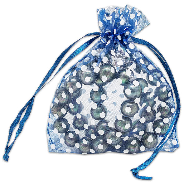 "3"" x 4"" Navy with White Polka Dot Organza Drawstring Pouch Gift Bags"