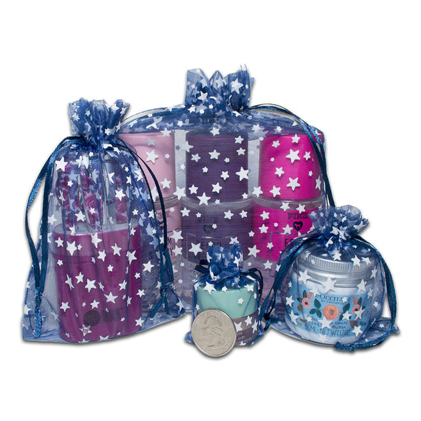 "3"" x 4"" Navy with White Star Organza Drawstring Pouch Gift Bags"