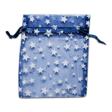 Navy with White Star Organza Drawstring Pouch Gift Bags