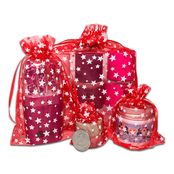 "3"" x 4"" Red with White Star Organza Drawstring Pouch Gift Bags"
