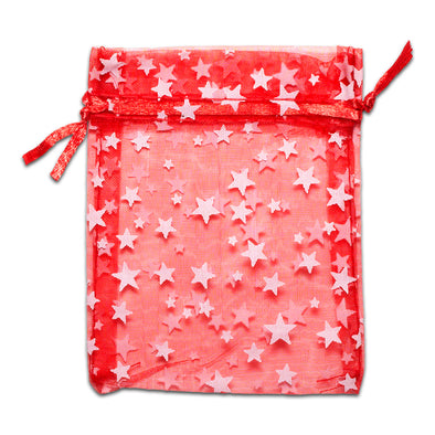 Red with White Star Organza Drawstring Pouch Gift Bags