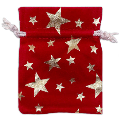 "3"" x 4"" Red Velvet Gold Star Christmas Drawstring Gift Bags"