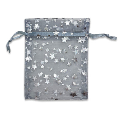 Silver with Silver Star Organza Drawstring Pouch Gift Bags