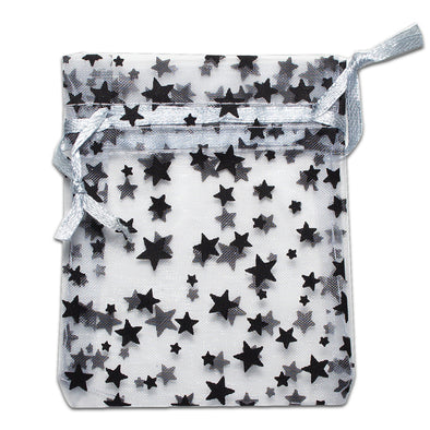 Silver with Black Star Organza Drawstring Pouch Gift Bags