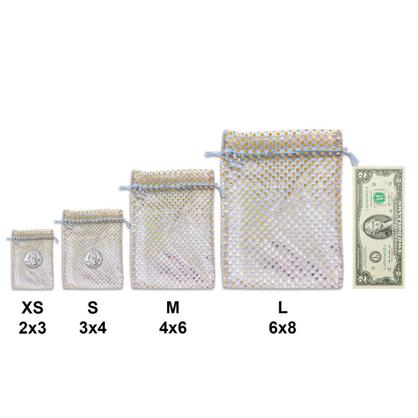 "3"" x 4"" Silver with Gold Polka Dot Organza Drawstring Pouch Gift Bags"