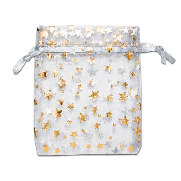 "3"" x 4"" Silver with Gold Star Organza Drawstring Pouch Gift Bags"