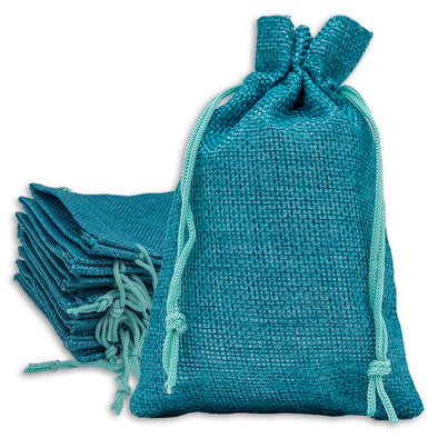 "3"" x 4"" Teal Blue Linen Burlap Drawstring Gift Bags"