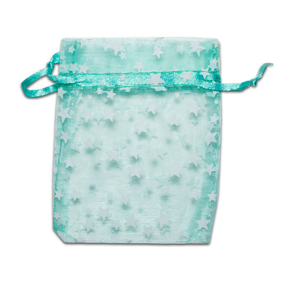 Teal with White Star Organza Drawstring Pouch Gift Bags