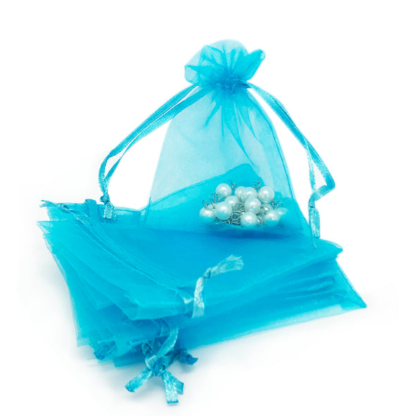 "3"" x 4"" Turquoise Organza Drawstring Pouches"