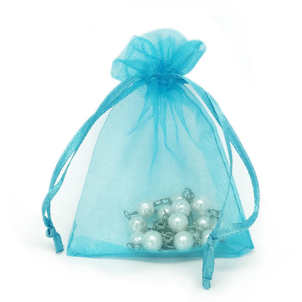 Turquoise Organza Drawstring Pouches