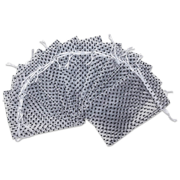 "3"" x 4"" White with Black Polka Dot Organza Drawstring Pouch Gift Bags"