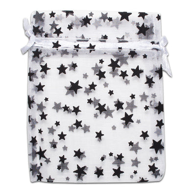 White with Black Star Organza Drawstring Pouch Gift Bags