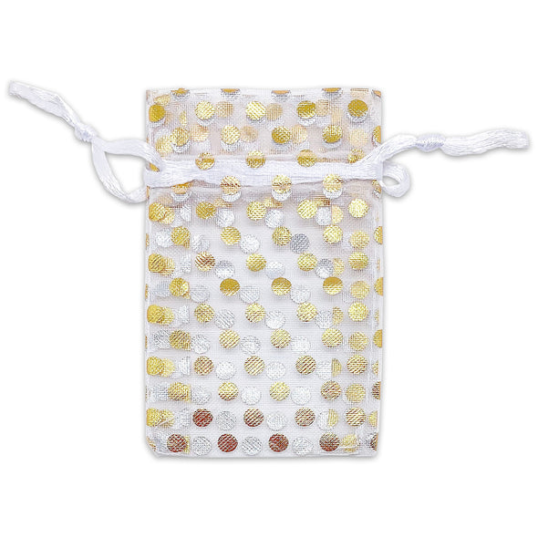White with Gold Polka Dot Organza Drawstring Pouch Gift Bags
