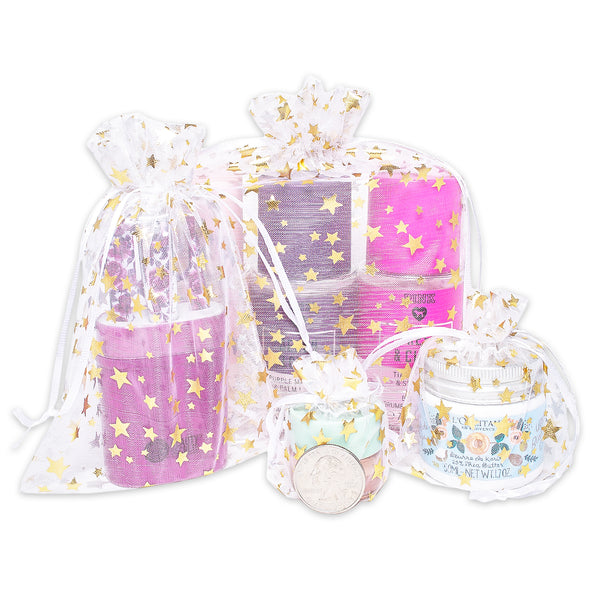 "3"" x 4"" White with Gold Star Organza Drawstring Pouch Gift Bags"